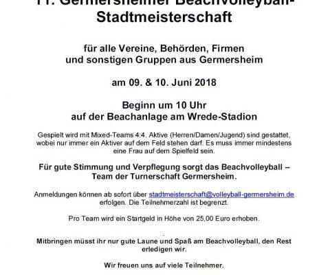 11. Germersheimer Beachvolleyball-Stadtmeisterschaft